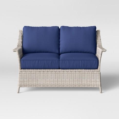 Enjoyable Bar Harbor Patio Loveseat Navy Threshold Alphanode Cool Chair Designs And Ideas Alphanodeonline