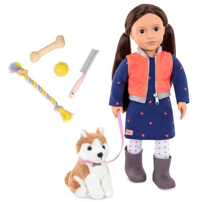 "Our Generation 18"" Doll & Pet Set - Leslie with Plush Dog Husky and Accessories"