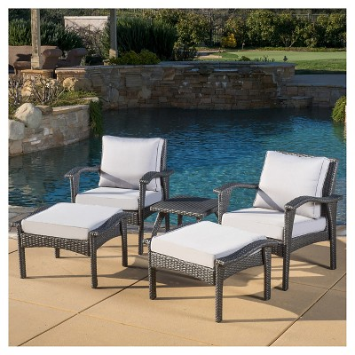 Honolulu Outdoor 5pc Wicker Seating Set with Cushions - Christopher Knight Home