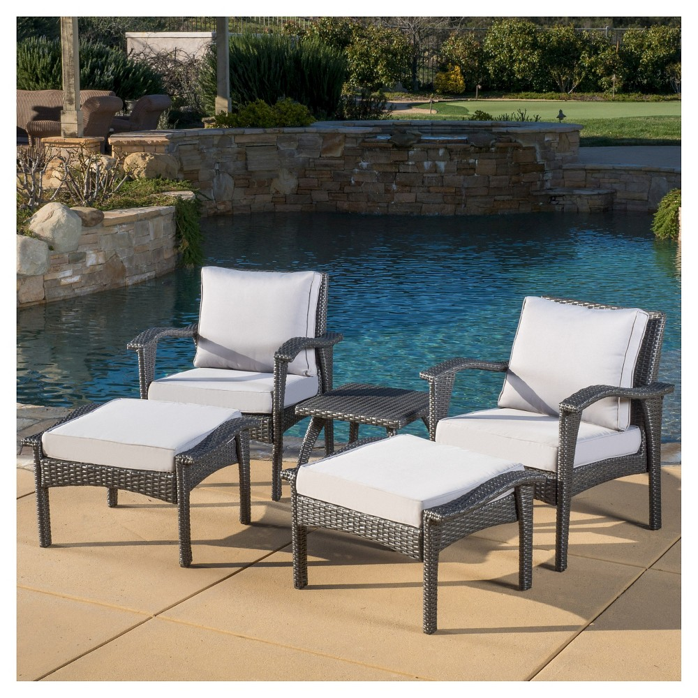 Honolulu 5pc Wicker Patio Seating Set with Cushions - Gray - Christopher Knight Home