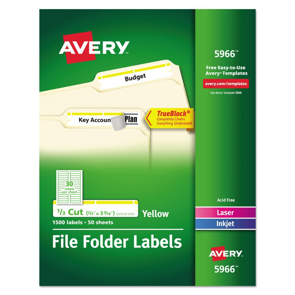 Avery Self-Adhesive Laser/Inkjet Filing Labels - 1500 Per Box, White