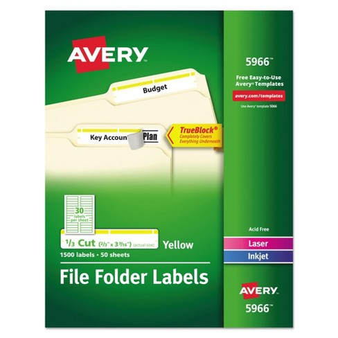 Avery® Self-Adhesive Laser/Inkjet Filing Labels - 1500 Per Box - image 1 of 2