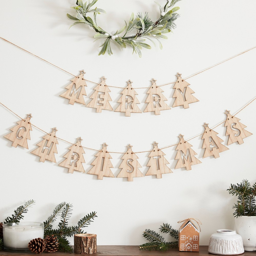 Merry Christmas Tree Shaped Wooden Bunting