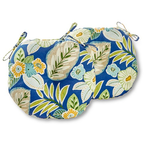 """Set of Two 15"""" Marlow Floral Outdoor Bistro Chair Cushions - Kensington Garden - image 1 of 4"""