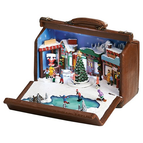 Musical Skaters In Suit Case Decorative Figurine - image 1 of 1