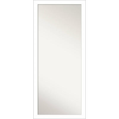 """28"""" x 64"""" Wedge Framed Full Length Floor/Leaner Mirror White - Amanti Art"""
