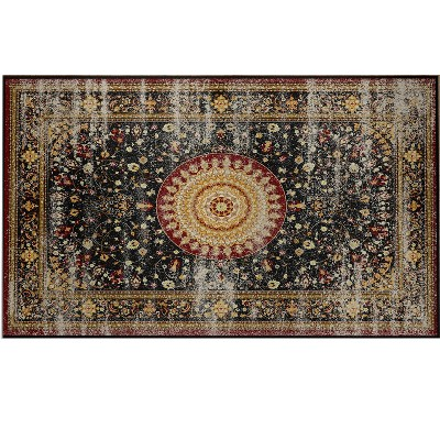Deerlux Traditional Oriental Persian Style Living Room Area Rug with Nonslip Backing, Classic Red