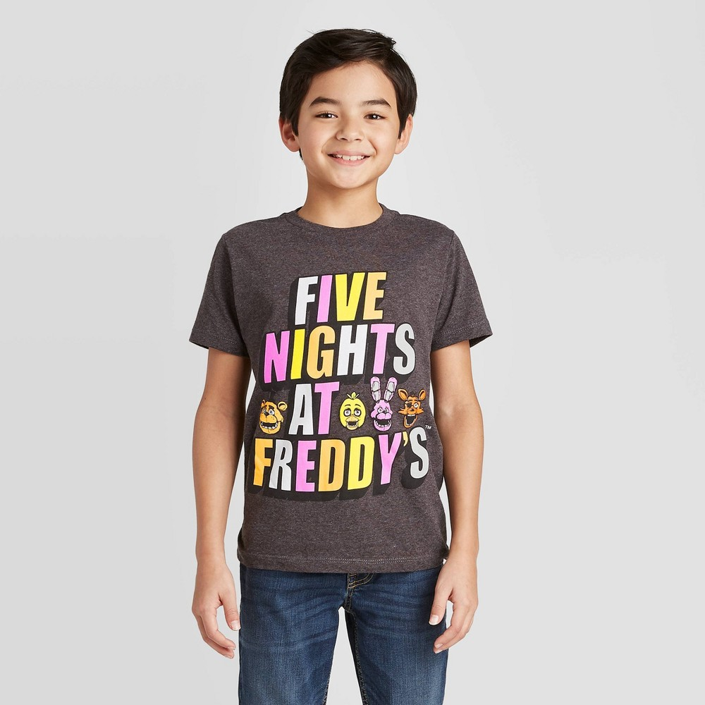 Image of petiteBoys' Short Sleeve Five Nights at Freddy's T-Shirt - Charcoal L, Boy's, Size: Large, Gray