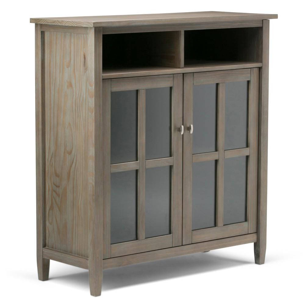 Norfolk Solid Wood Medium Storage Media Cabinet Distressed Gray - Wyndenhall