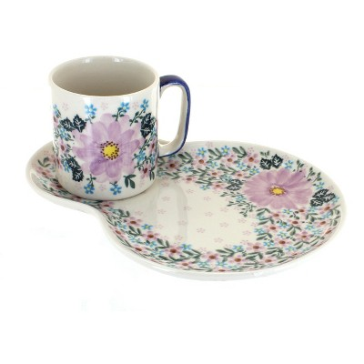 Blue Rose Polish Pottery Lilac Garden Breakfast Plate with Mug