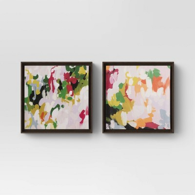"(Set of 2)12"" x 12"" Colorful Abstract Framed Canvas - Opalhouse™"