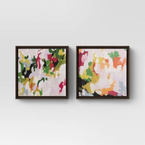 """(Set of 2) 12"""" x 12"""" Colorful Abstract Framed Canvas - Opalhouse™ - image 1 of 4"""