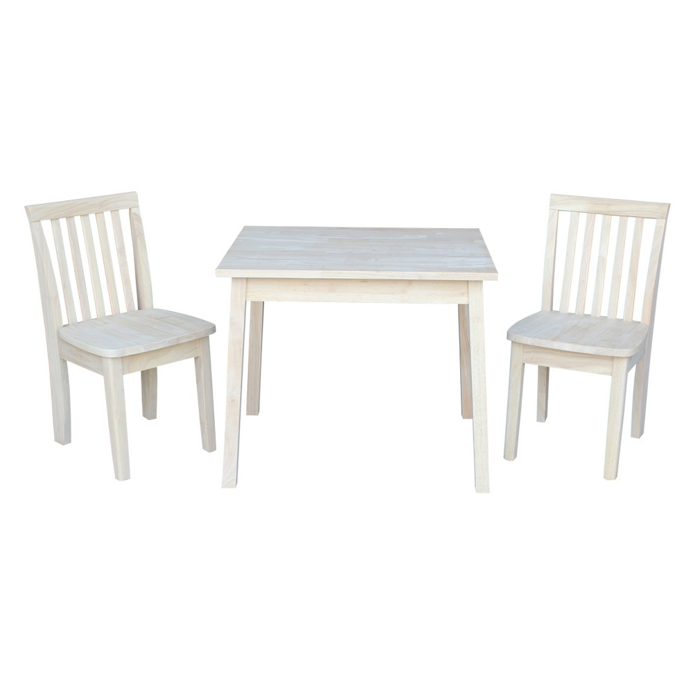 Kids Table with Two Mission Juvenile Chairs Unfinished (Three Piece Set) - International Concepts, Wood