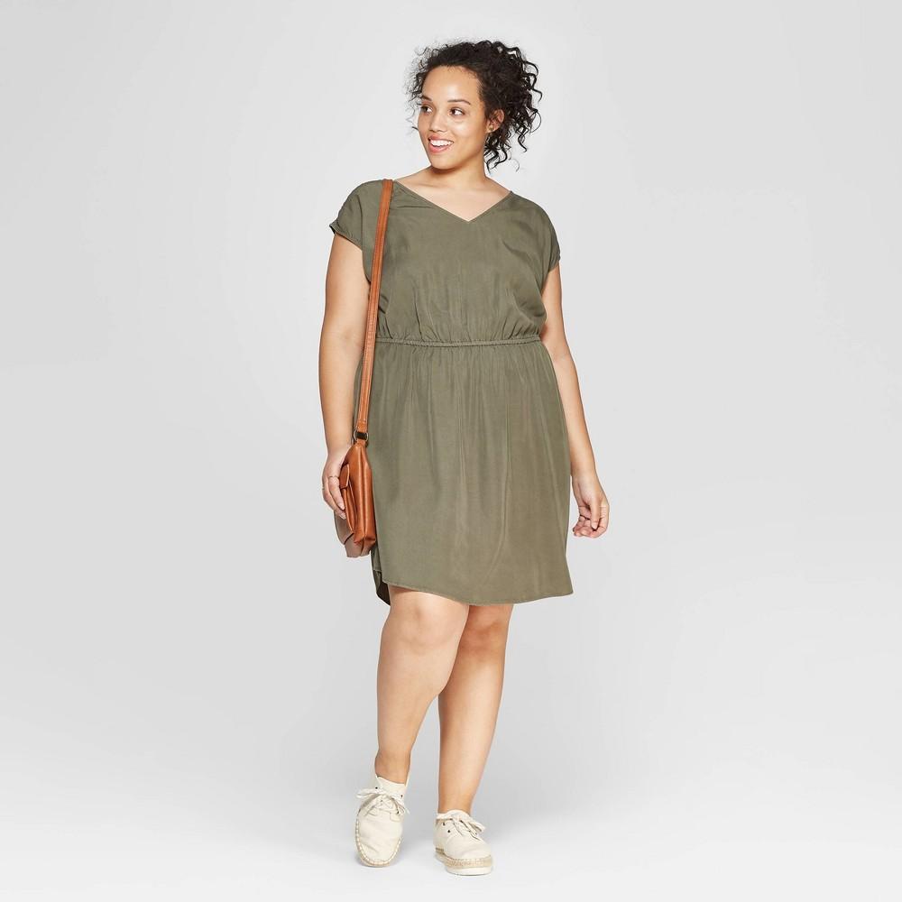 Women's Plus Size Sleeveless V-Neck Cinched Waist Dress - Universal Thread Olive (Green) 2X
