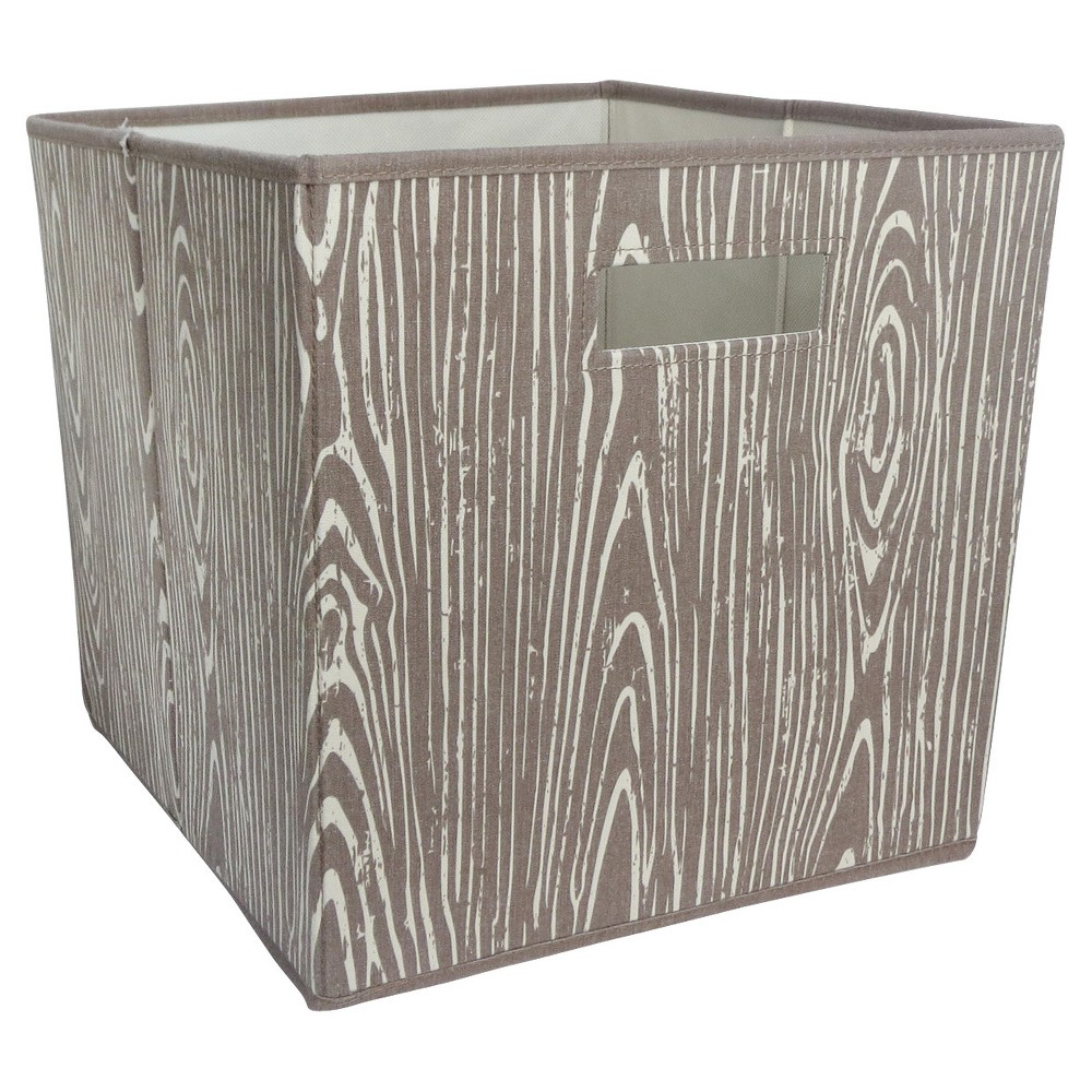 Fabric Cube Toy Storage Bin Woodgrain - Pillowfort, Brown The Fabric Cube Storage Bin (13 x13 ) Mint and Cream from Pillowfort offers a stylish storage solution for clothing or small toys. It's perfect for a kids' room, home office, laundry room or craft room. Mix and match colors and prints for a creative look. Color: Brown. Pattern: Tree.