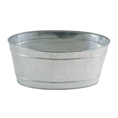 """10.75"""" Small Oval Galvanized Tub with 2 Side Handles Steel - ACHLA Designs"""