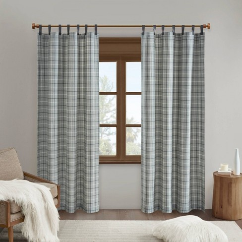 "84""x50"" Preston Plaid Faux Leather Tab Top Room Darkening Curtain Panel with Fleece Lining  - image 1 of 4"