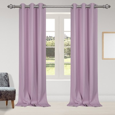 2 Pcs 42 x 95 Inch Solid Blockout Thermal Insulated Grommet Curtain Panels Purple - PiccoCasa
