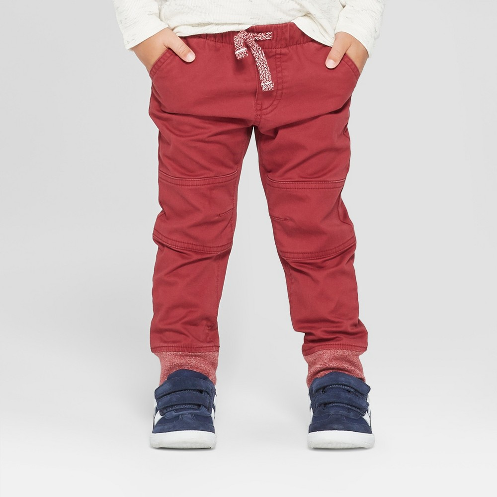 Toddler Boys' Reinforced Knee Jogger Fit Pull-On Pants - Cat & Jack Berry 5T, Red
