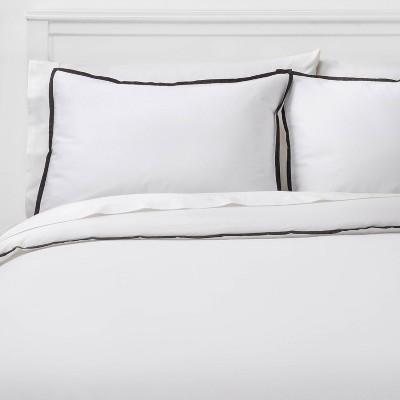 Full/Queen Hotel Border Frame Comforter & Sham Set White/Black - Threshold Signature™