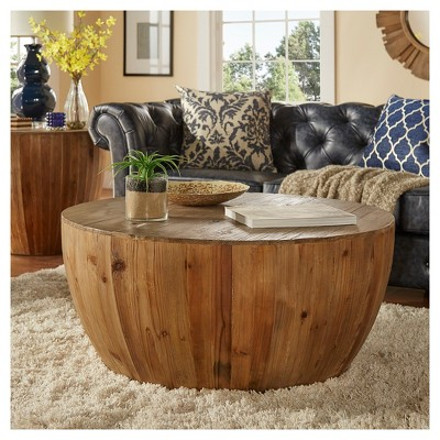 Rochelle Reclaimed Wood Drum Cocktail Table   Natural   Inspire Q