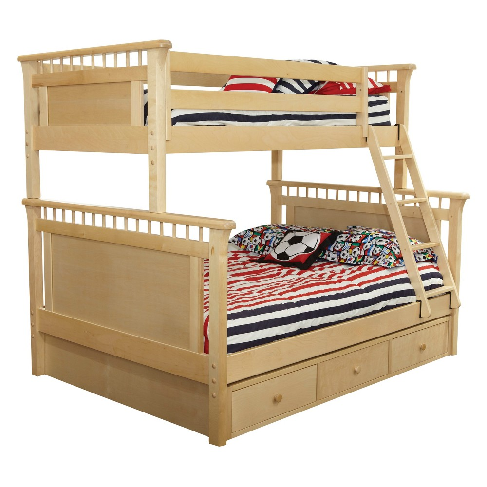 Bennington Twin Over Full Bunk Bed With Under Bed 3 Storage Drawer Case Natural - Bolton Furniture