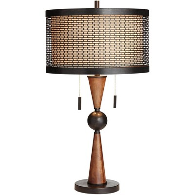Franklin Iron Works Hunter Bronze and Cherry Wood Table Lamp with Table Top Dimmer