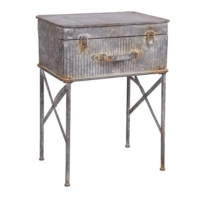 Distressed Metal Suitcase Side/End Table - Foreside Home and Garden