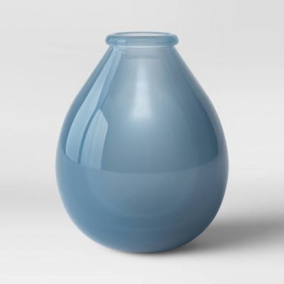 "9"" x 7.8"" Sandblasted Glass Vase Blue - Threshold™"