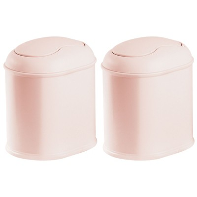 mDesign Plastic Mini Trash Can with Swing Lid for Bath Vanity, 2 Pack