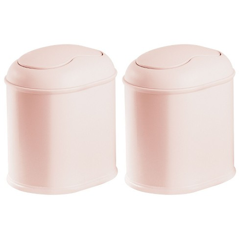 Mdesign Plastic Mini Trash Can With, Bathroom Trash Can With Swing Lid