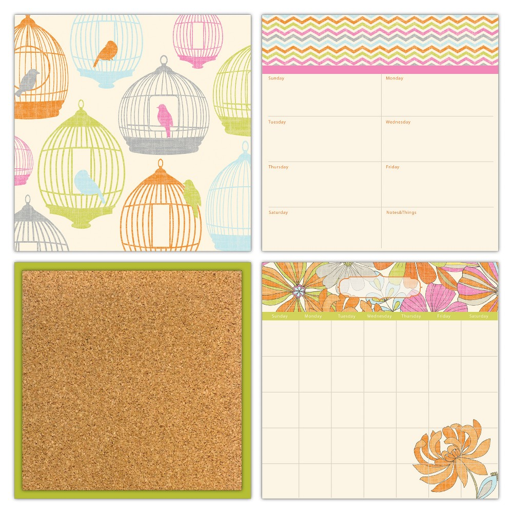 Image of Wall Pops! Cork and White Board Calendar Set 4ct - Birds and Flowers