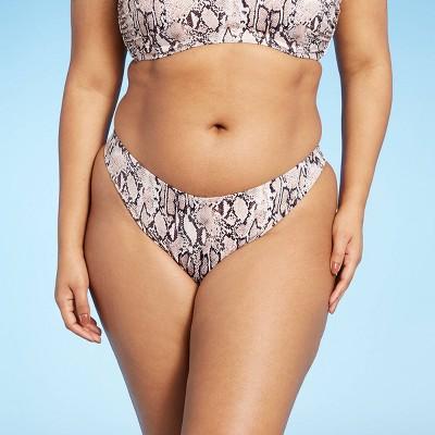 Women's High Leg High Waist Extra Cheeky Bikini Bottom - Shade & Shore™ Neutral Snake Print