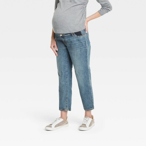 Mid-Rise Under Belly Vintage Straight Maternity Jeans - Isabel Maternity by Ingrid & Isabel™ Medium Blue - image 1 of 4