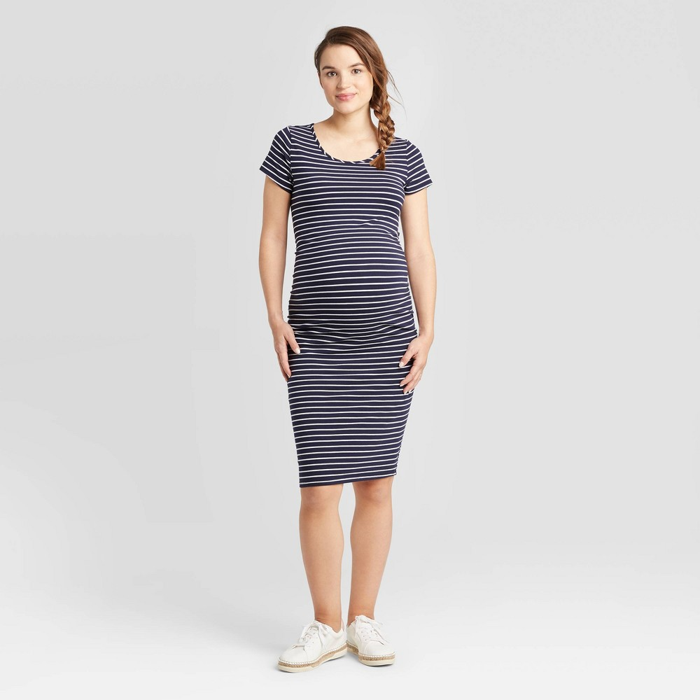 Striped Short Sleeve T-Shirt Maternity Dress - Isabel Maternity by Ingrid & Isabel Navy/White XXL, Blue/White was $24.99 now $10.0 (60.0% off)