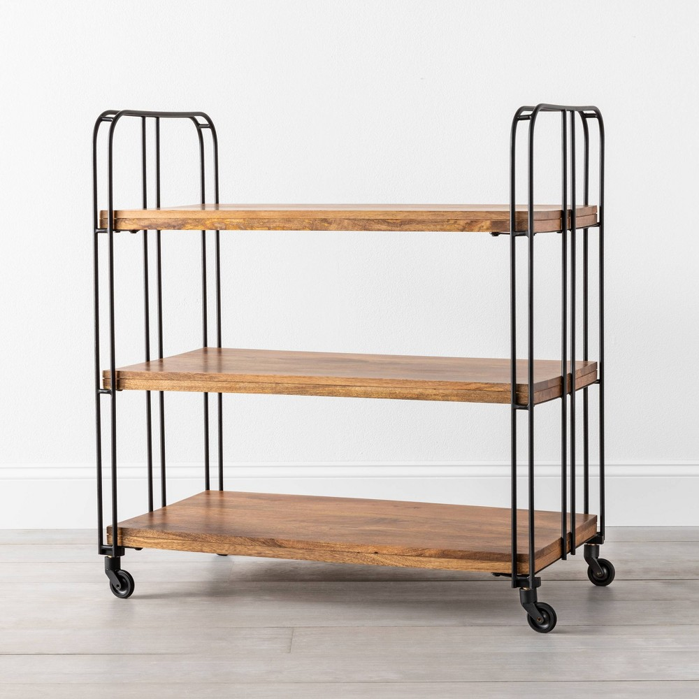 3 Shelf Wood / Metal Rolling Cart - Hearth & Hand with Magnolia