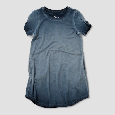 Toddler Girls' Afton Street Double Dipdye Short Sleeve T-Shirt Dress - Tonal Navy 12M