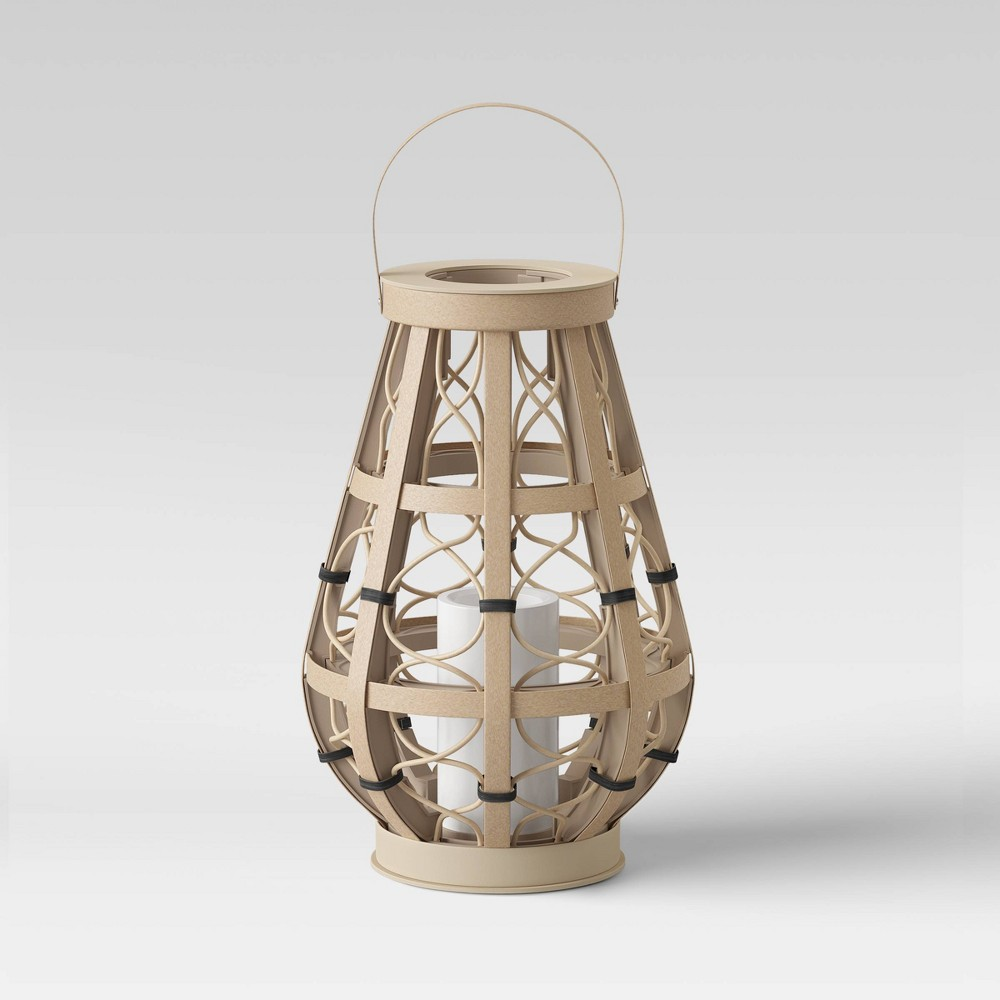 "Image of ""11"""" Small Woven Ogee Outdoor Lantern Natural - Opalhouse"""