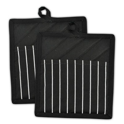 2pk Cotton Striped Chef Pot Holders Black - Design Imports