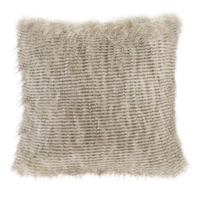 Natural Adelaide Faux Fur Square Throw Pillow 20 x20