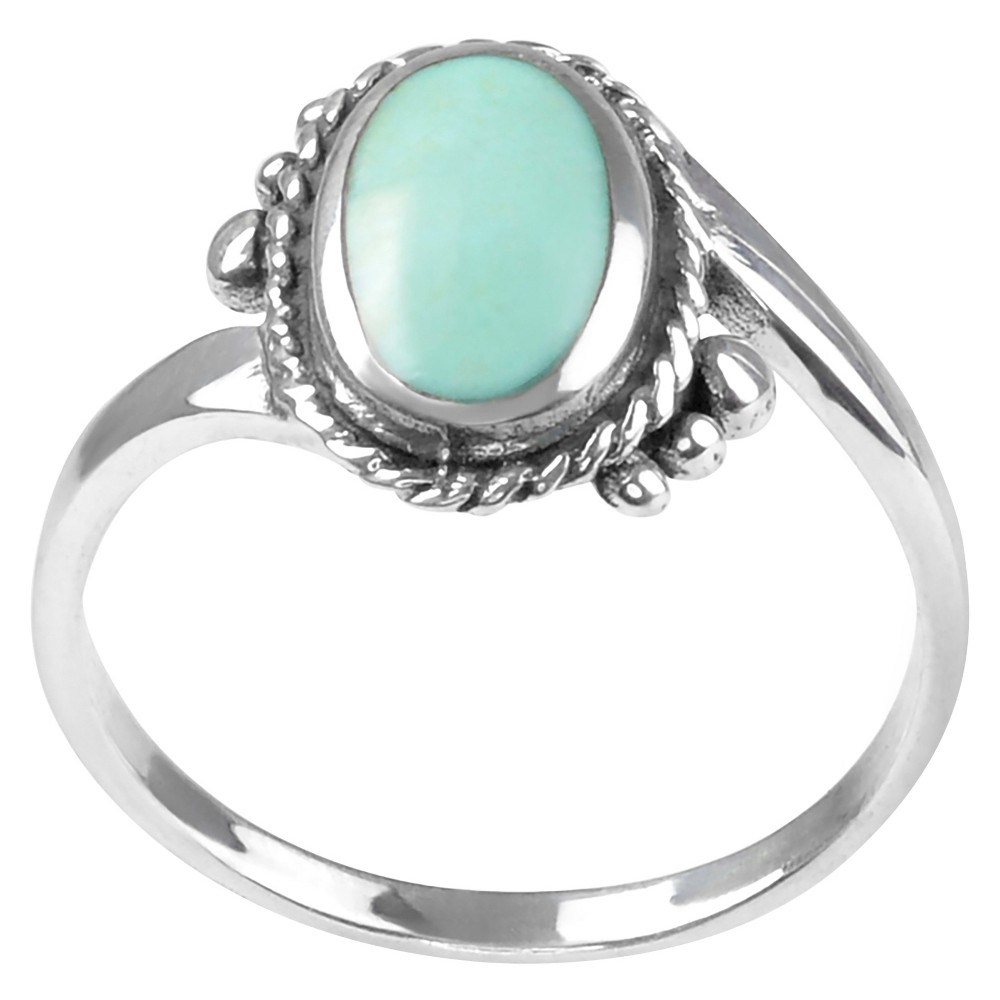 1/2 CT. T.W. Oval-cut Turquoise Solitaire Bezel Set Ring in Sterling Silver - Blue-green, 7, Girl's, Blue