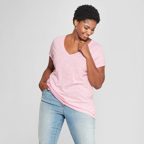 3c196635db9 Women s Plus Size V-Neck Short Sleeve T-Shirt - Ava   Viv™ Pale Pink ...