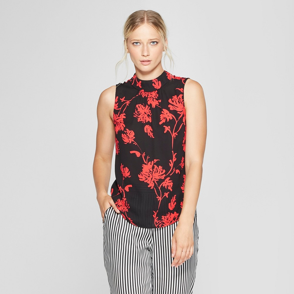 Women's Floral Print Mock Neck Tank Top - Who What Wear Black/Red L, Black/Red Floral