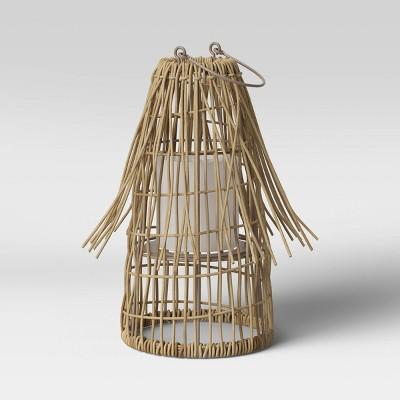 "10"" Woven Wicker Outdoor Lantern Candle Holder Beige - Opalhouse™"