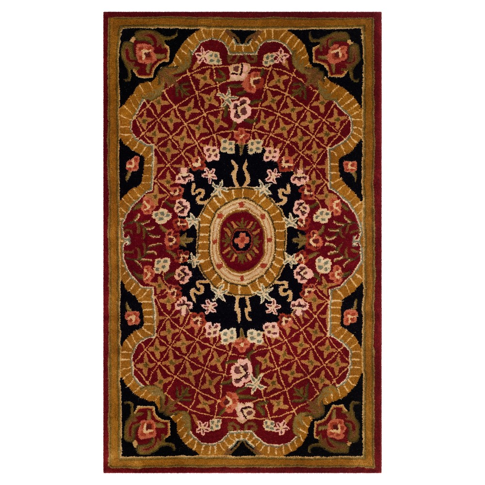 Burgundy/Black Abstract Tufted Area Rug - (4'X6') - Safavieh, Red/Black