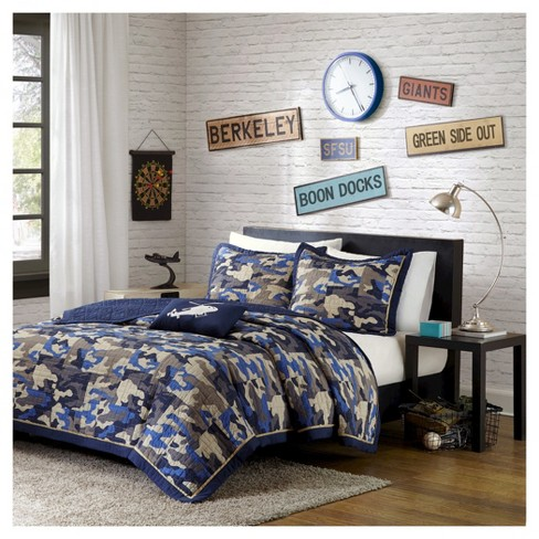 Liam Camouflage Print Quilted Coverlet Set - Blue - image 1 of 5