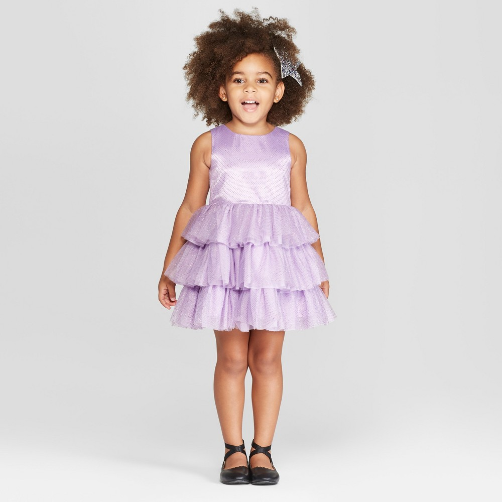 Toddler Girls' Glitter Dotted A-Line Dress - Cat & Jack Purple 3T
