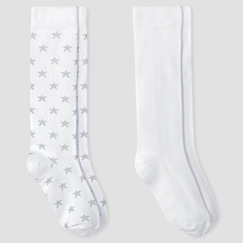 Girls' 2 Pack Casual Socks - Cat & Jack™ White - image 1 of 1