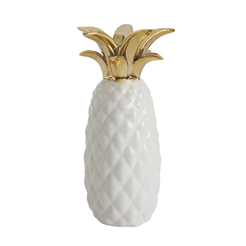Stoneware Pineapple Vase (8.25) - White/Gold - 3R Studios