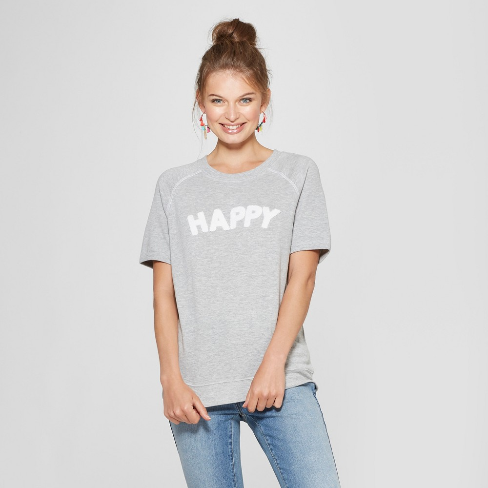 Women's Short Sleeve Happy Chenille French Terry Graphic T-Shirt - Grayson Threads (Juniors') Heather Gray XS